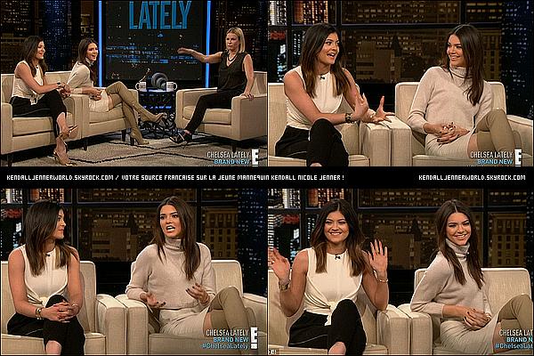 .                                                                                                                 15/01/2014 : Kendall et Kylie  étaient toutes les deux invitées sur le plateau de Chelsea Lately à Los Angeles.                          .