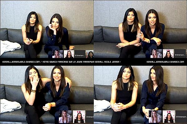 .                                                                                                                 15/01/2014 : Kendall et Kylie  dans les studios de E! pour répondre aux questions des fans.                           .