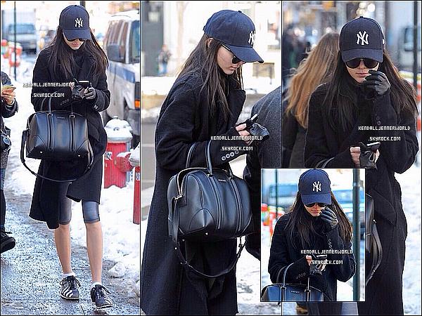 .                                                                                                                 10/02/2014 : Kendall  à été aperçue dans les rues enneigés de New-York afin de se rendre à son cours de gym.                           .