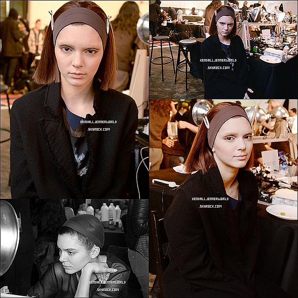 .                                                                                                                 13/02/2014 : Kendall  dans les backstage du défilé Marc Jacob à la Mercedes-Benz Fashion Week à NY.                           .
