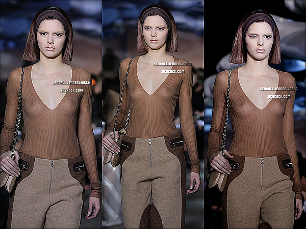 .                                                                                                                 13/02/2014 : Kendall  défilant pour Marc Jacob à la Mercedes-Benz Fashion Week de New-York.                           .