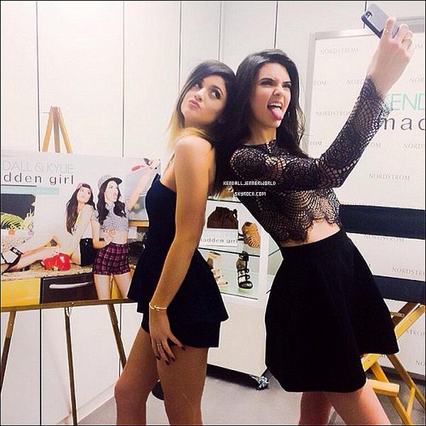 .                                                                                                                 22/02/2014 : Kendall et Kylie il y a quelques instants à Nordstrom pour leur Meet & Greet à Glendale.                          .