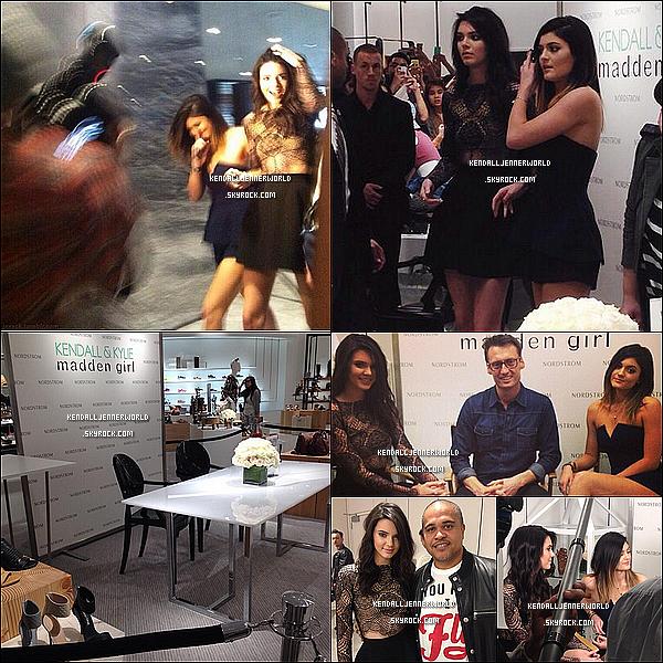 .                                                                                                                 22/02/2014 : Kendall et Kylie à Nordstrom pour leur Meet & Greet à Glendale, Californie.                          .