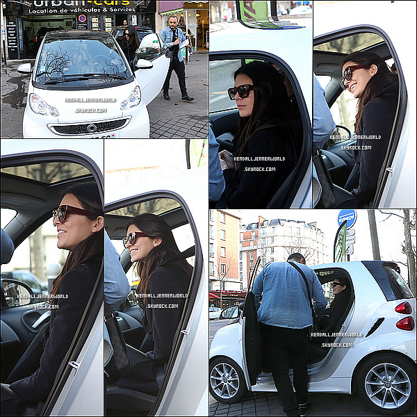 .                                                                                                                 01/03/2014 : Kendall et une autre mannequin ont loués une Smart afin de se promener dans Paris.                      .