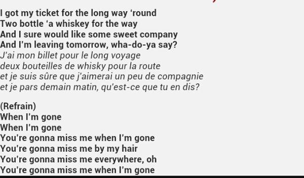 when i'm gone parole aussi traduite en français