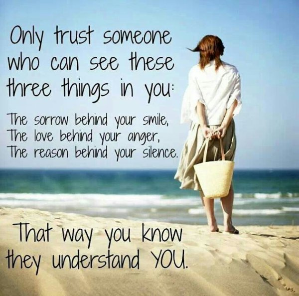 Only trust someone. ..