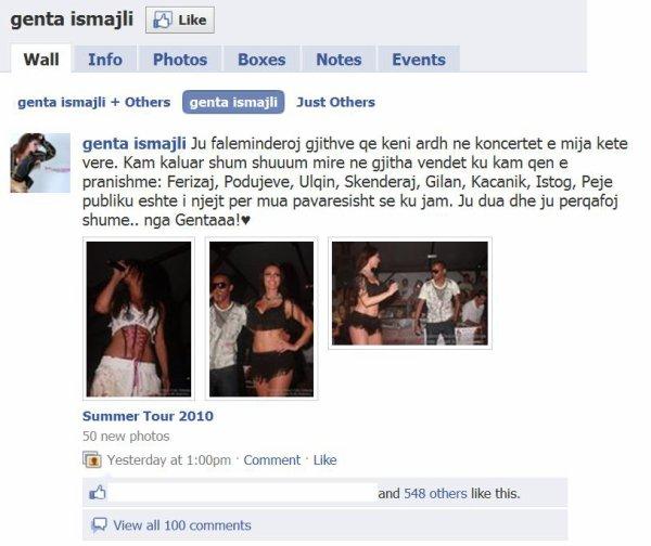 Genta Ismajli - Falenderon fansat ne Facebook :)
