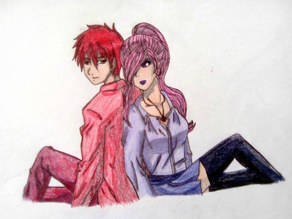 Evangéline et Akashi ,mon dessin
