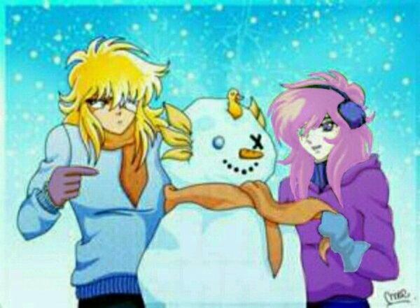 Evangeline et Hyoga - le violet et le bleu