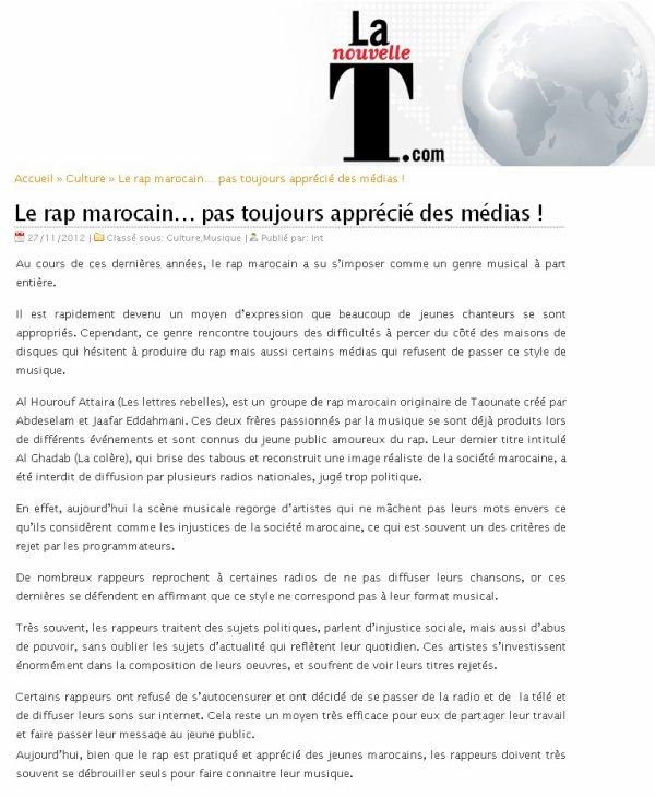 L7rouf tayra sur le journal éléctronique ''La  Nouvelle T'' le 27 novembre 2012