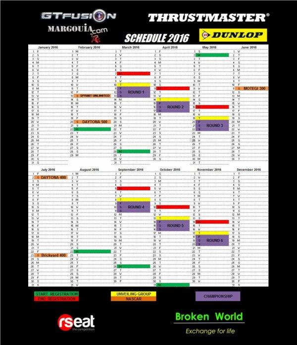 Gran Turismo World Championship Online - GTfusion Calendrier 2016