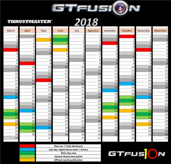 GTfusion 2018 Calendrier
