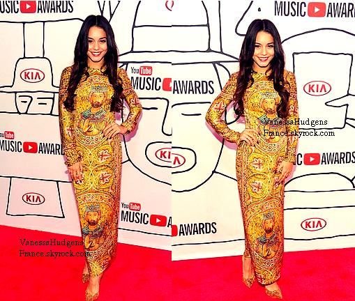 03.11.13 » Vanessa magnifique en robe pour les Youtube Music Awards !