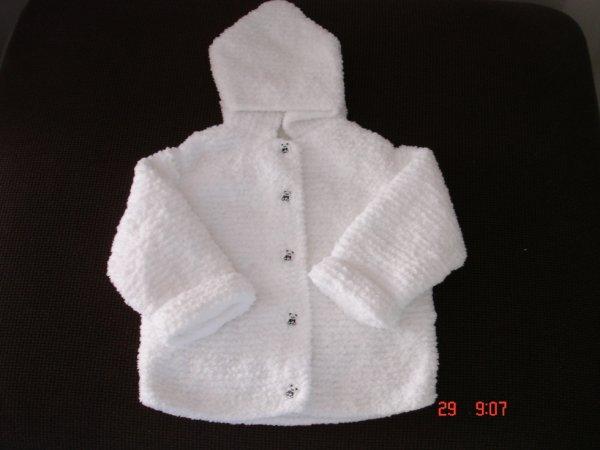 manteau blanc en laine toute douce