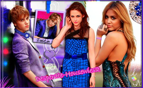 Justin Bieber,Kristen Stewart et Miley Cyrus