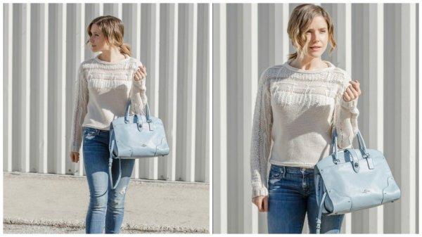 24 Février 2016: Sophia a rendue visite à une amie dans Chicago. Elle portait ce jour la, un pull de la marque Ramy Brook, un jean skinny légèrement délavé, une paire de boots en cuir et enfin un magnifique sac signé Coach.