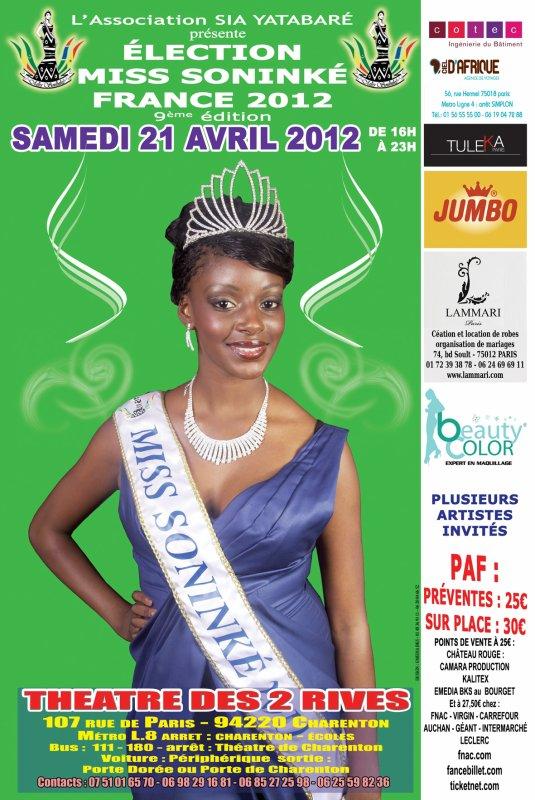 Samedi 21 avril 2012 aura lieu miss soninké france 2012