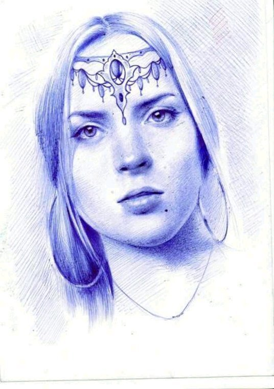 My drawing with blue pen @#
