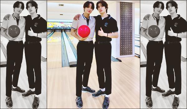 """.24/06/21. La chaîne YouTube """"NCT"""" a postée une nouvelle vidéo Jungwoo et Jaehyun ont fait une partie de bowling ensemble"""