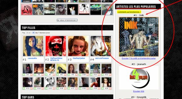 #1 dans le TOP ARTISTE :p sur www.reseauurbain.com VIEN VOIR SA :D !!!