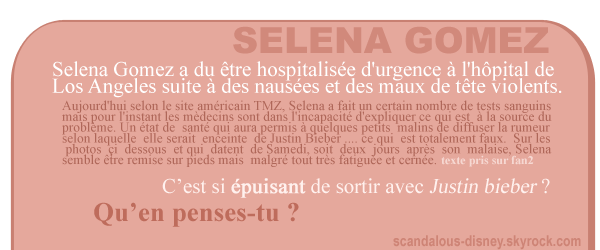 Selena gomez hospitalisée