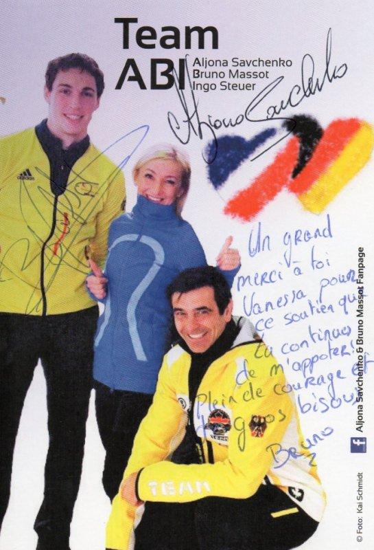 Autographe de Bruno Massot et d'Aliona Savchenko