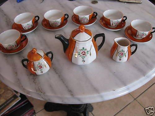 Service à thé orange