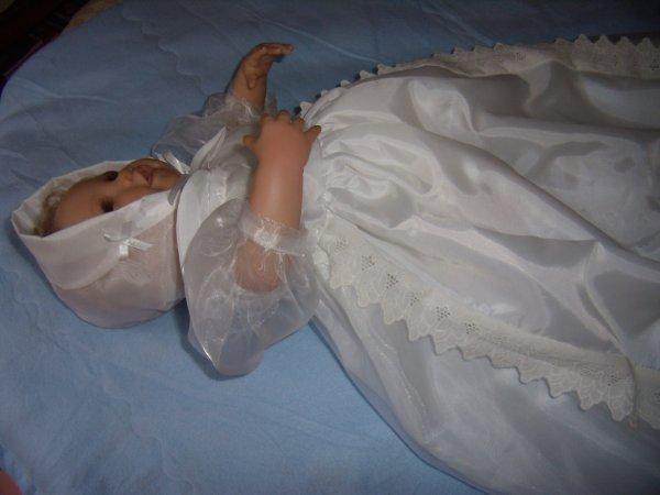 Robe de baptême en organza doublée
