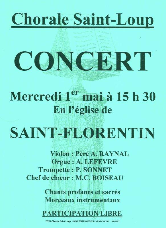 Prochain concert de la chorale mercredi prochain 1er mai !