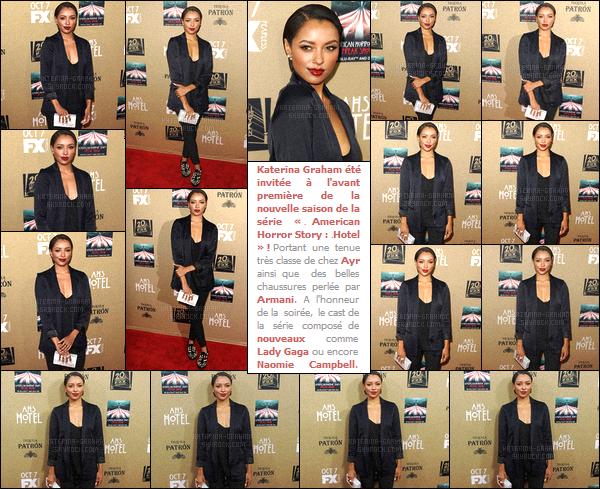 - 03/10/15-Kat. Gs'est rendue à l'avant première d''- « American Horror Story'-' Hotel» à Hollywood ! Invitée au lancement de la série à succès, Kat Graham s'est rendue sur le tapis rouge de l'événement créer pour la saison 5 d'AHS - pour y poser. -