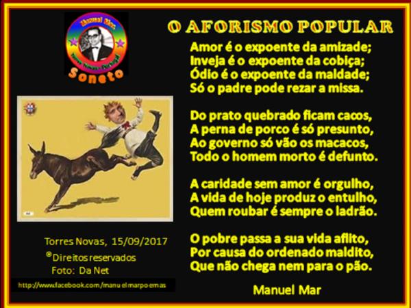 O AFORISMO POPULAR