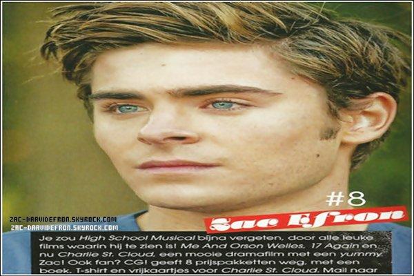 . 24 Septembre 2010 :un scan de Zac dans le dernier numéro du magazine néerlandais CosmoGIRL!..