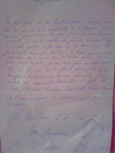 Lettre De Ma Femme Cheriie D'amour Hiihii Elle Vas Me Manquez <3