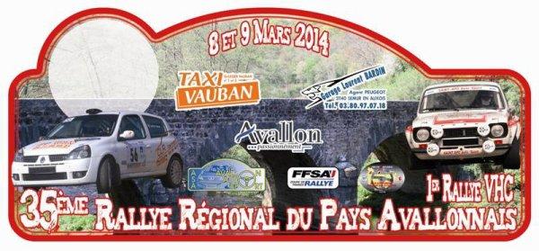 Plaque du 35 eme rallye de L'Avallonnais 2014