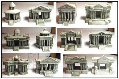 Répliques miniatures des temples des 12 chevaliers d'or