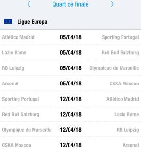 Quarts de Finale des Coupes européennes