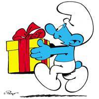 sa blague favorite est de donner des cadeaux aux autres schtroumpfs et les cadeaux explosent la figure du schtroumpf qui a ouvert le cadeau - Schtroumpf Farceur