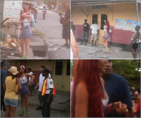 . Rihanna sur le set de « Man Down » en Jamaïque. .