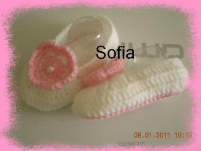 Chaussons rose et blanc pour la boutique de ma maman