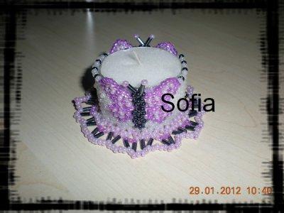 Cache bougie papillon violet