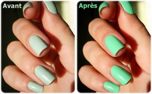 """TEST: Vernis """"Vert Pâle"""" de chez CLAIRE'S."""