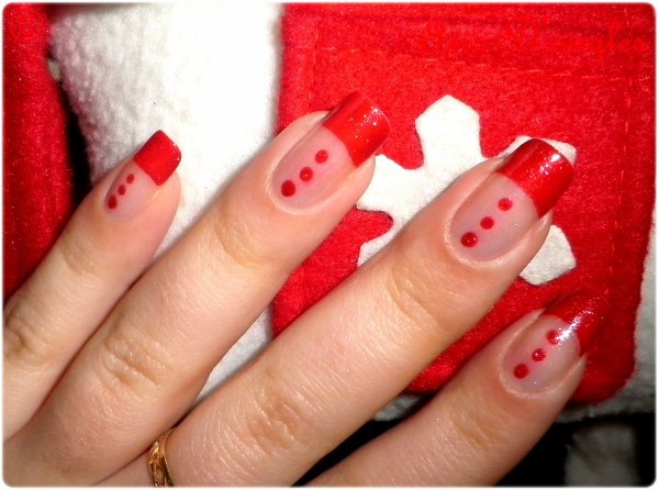 nail art de pr no l french manucure rouge l iris. Black Bedroom Furniture Sets. Home Design Ideas