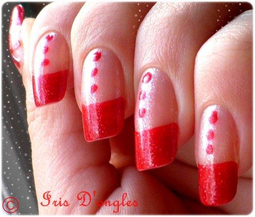 """Nail Art de """"Pré-Noël"""" (french manucure rouge) (l)"""