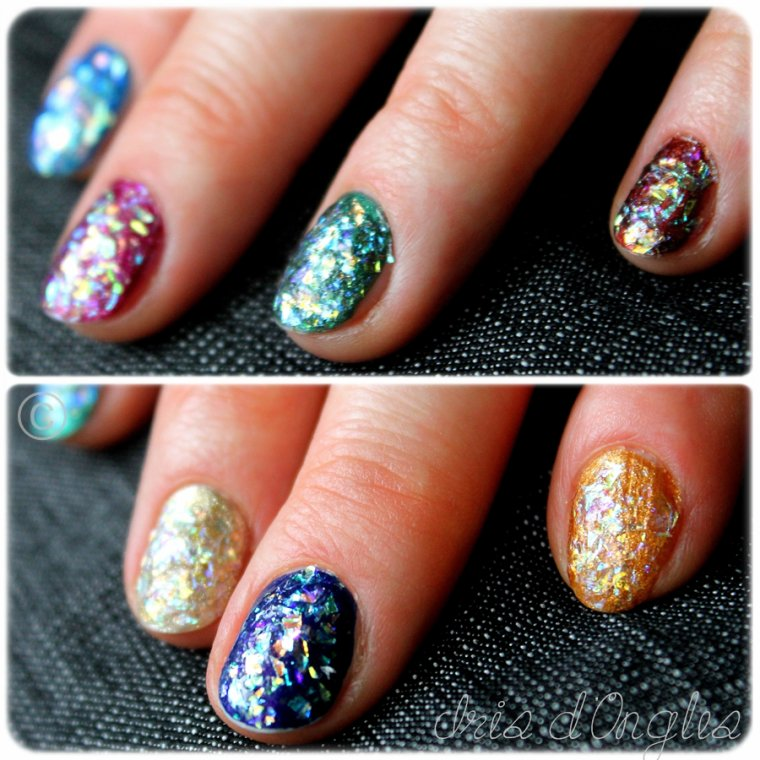 Maman Iris: différents tests du Color Club Covered in Diamonds !