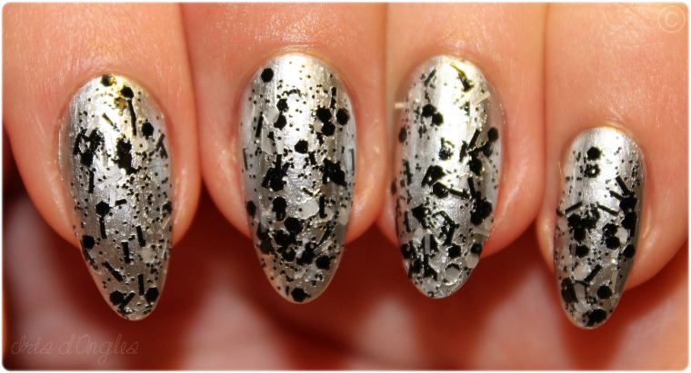 "Superposition: vernis N°492 ""Brick Lane"" de chez Nails Inc sur N°616 ""Silver"" de chez KIKO (l) !"