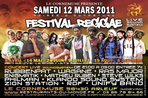 FESTIVAL GEGGAE (live sound system) LE 12 MARS a ARLEUF dans la NIEVRE