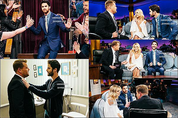 * 21/03/17 : Darren C. était invité, sur le plateau de l'émission - « The Late Late Show with James Corden »[/font.] Les photos sont superbes. Darren était ravissant. J'aime totalement la tenue qu'elle porte, je trouve que la cravate va bien avec cette tenue, un Top  *