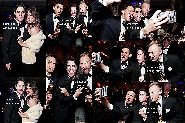 * 26/02/17 : Darren C. était dans les coulisses de l'événement « Lionsgate's Oscar Celebration », dans Soho. Darren Criss était superbe sur ces photos, il à l'air de bien s'amuser. J'aime beaucoup son costume et son noeud papillon. C'est donc un Top pour moi  *