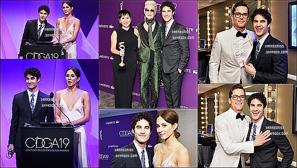 * 21/02/17 : Darren Criss a assisté à la 19 édition des «  Costume Designers Guild Awards » - à Beverly Hills. Darren est vraiment ravissant. Il a remit un prix avec Troian Bellisario et ont posé ensemble dans les backstages. Jaime bien sa tenue. Top pour moi  *