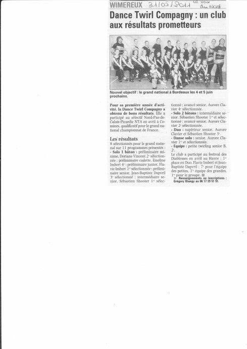 Article de Journal du 31/05/2011 dans La Voix du Nord